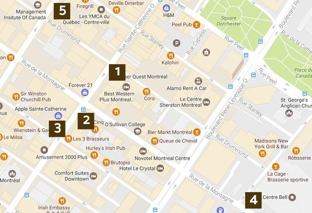 plan des attractions autour du Drummond