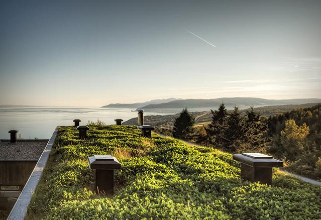 un fantstique toit vert avec vue sur lac