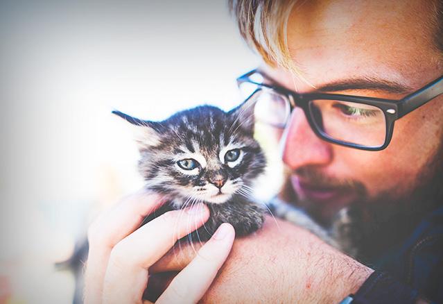 une personne avec un petit chat dans ses mains devant son condo