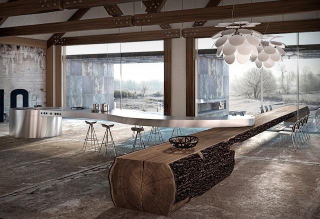 cuisine avec un comptoir en bois rond