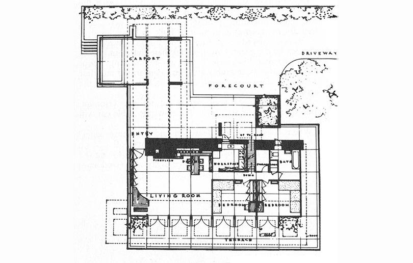 Plan de maison usonienne de Franck Lloyd Wright
