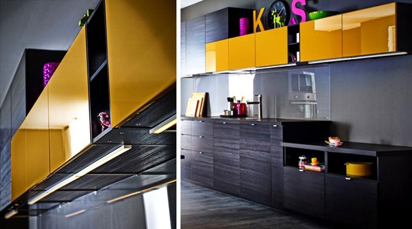 cuisine design noir et couleur vive