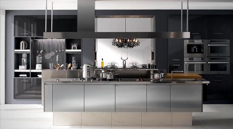cuisine design noir acier inoxydable
