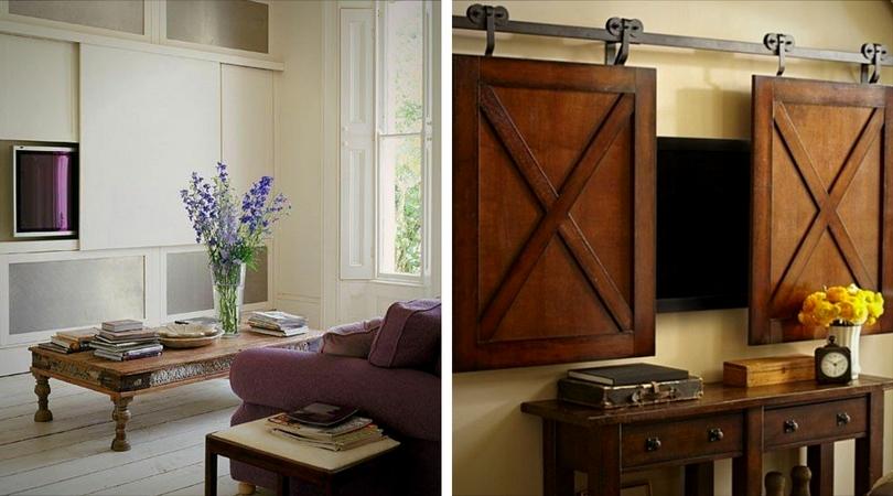 téléviseur derrière des portes