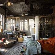chambre au style industriel avec grandes fenêtres