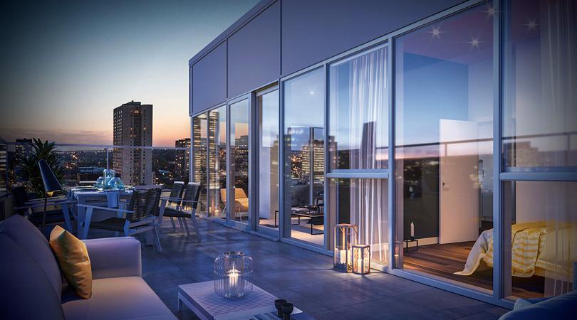 Le toit du projet Stanbrooke offrant des condos neufs en location