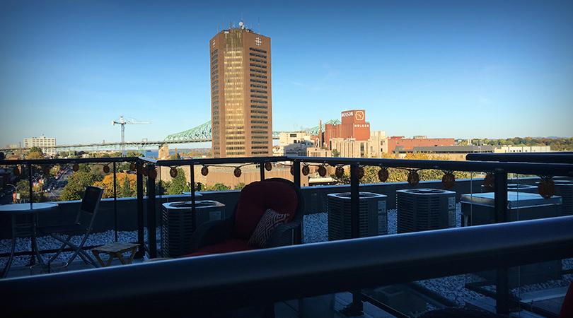 vue du toit du projet Glo 2 condo neuf à louer à Montréal