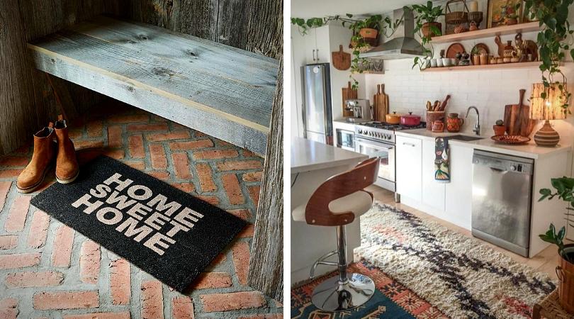 déco d'automne idée de tapis pour l'entrée et la cuisine