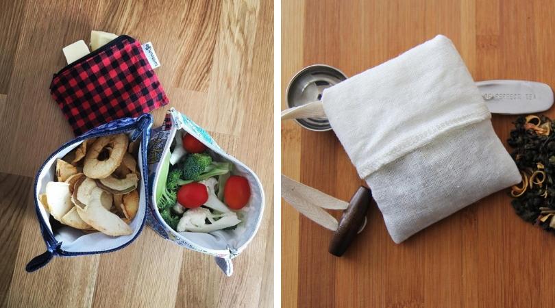 zéro déchet sac a collation et sandwiches en tissu poche de thé en tissu lunitouti