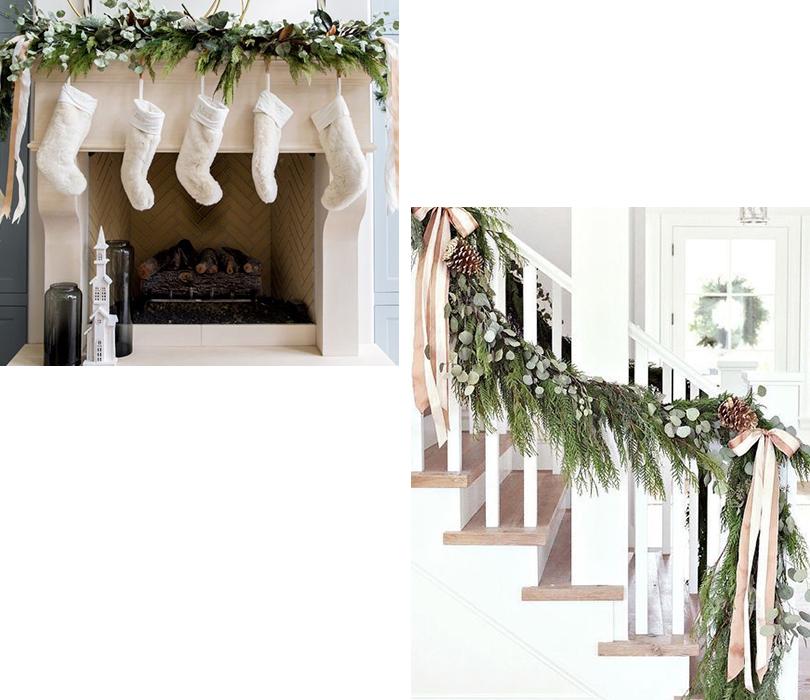 décoration du temps des fêtes branches de sapin sur la rampe d'escalier et sur la cheminé