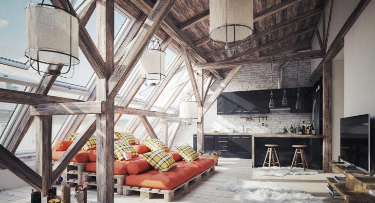 terrasse style loft avec des palettes
