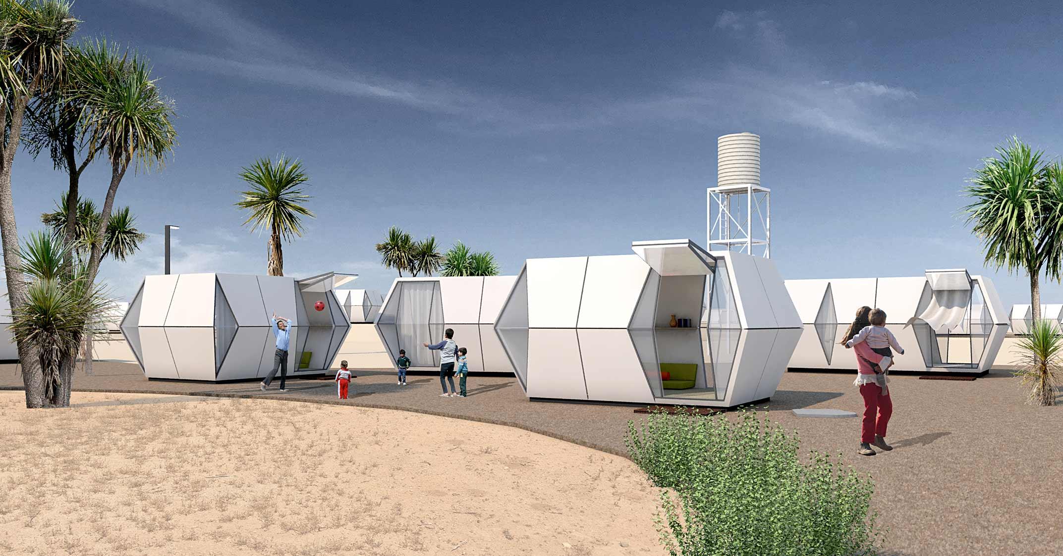 folding pods by Hariri & Hariri Architecture