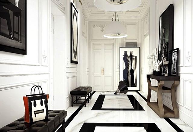 hall-blanc et noir
